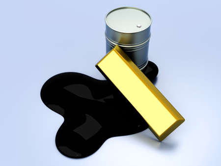 commodities: Gold and Oil, two commodities on the stock market  3D rendered Illustration