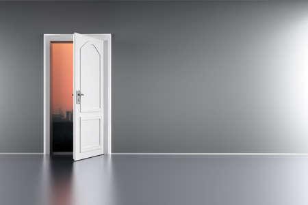 abrir puerta: Una puerta abierta a una puesta del sol