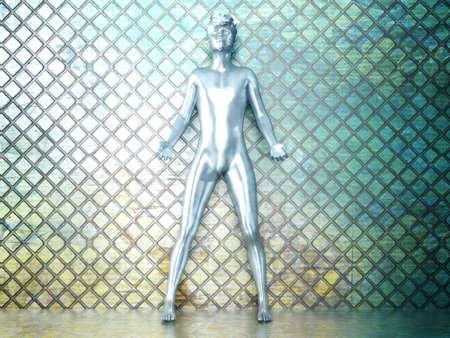 Iron Man: A iron man symbolizing human power  3D rendered Illustration  Stock Photo