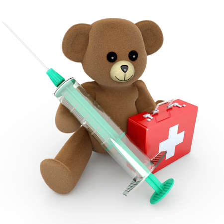 A medical Teddy bear  3d rendered Illustration  illustration