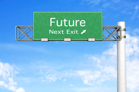 3D rendered Illustration  Highway Sign next exit Future    Stock Photo
