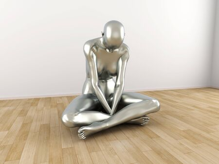 Abstract 3D rendered illustration of a depressed woman Stock Illustration - 16689087