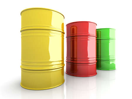barrel radioactive waste: Three industrial barrells  3D rendered Illustration  Isolated on white  Stock Photo