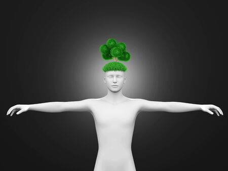 Think green  3D rendered illustration Stock Illustration - 16689111