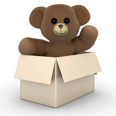 A Teddy greeting from within a box  3d rendered Illustration  illustration