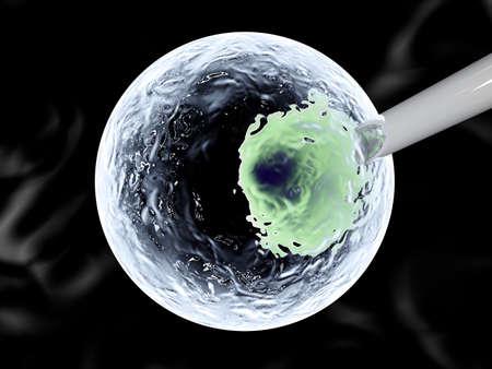 penetracion: La inyección de ADN en una célula de tallo Ilustración 3D rindió Foto de archivo