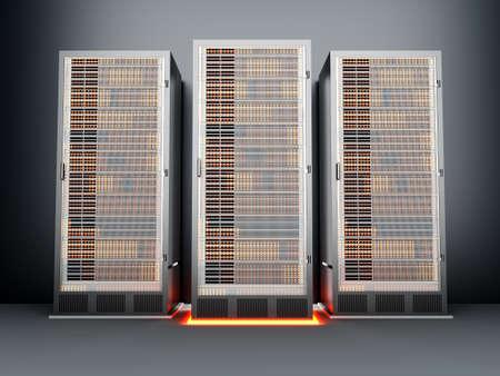 fileserver: A dark server room  3D rendered Illustration  Stock Photo