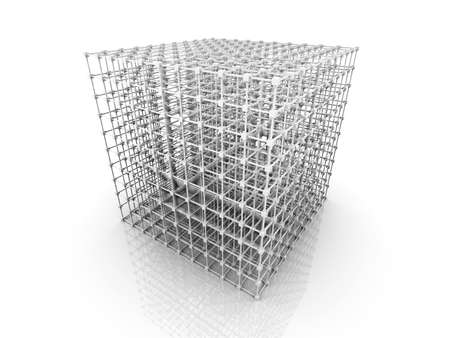 distributed: 3D rendered Illustration  A 3 dimensional grid  Isolated on white