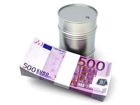 Euros and oil  3D rendered Illustration  Isolated on white  Stock Illustration - 16689075