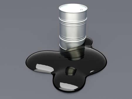 crude oil: A leaking oil barrel  3D rendered Illustration  Stock Photo