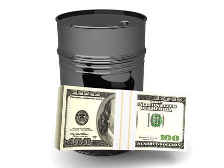 A oil barrell with Dollar notes  3D rendered Illustration  Isolated on white  Stock Photo