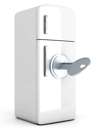 A locked, classic Fridge  3D rendered Illustration  Isolated on white  illustration