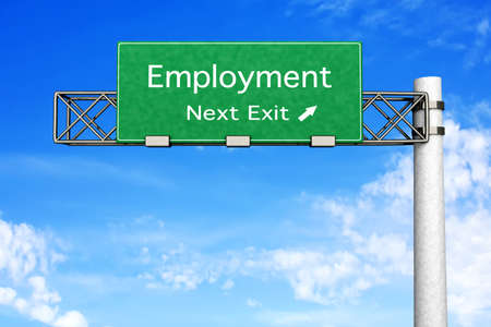 3D rendered Illustration  Highway Sign next exit to employment Stock Illustration - 16834752