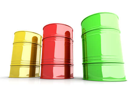 Three industrial barrels  3D rendered Illustration  Isolated on white Stock Illustration - 16928658
