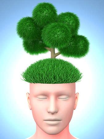 Think green  3D rendered illustration  illustration