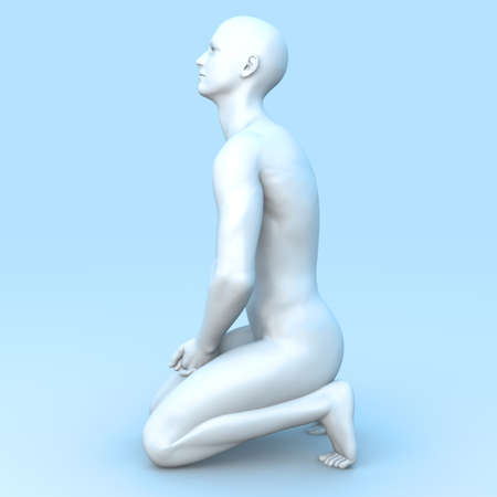 Symvolic 3D rendered illustration of a generic male human meditating in the dragon seat asana  Stock Illustration - 16928579