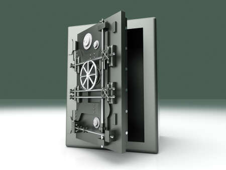 iron defense: A open bank safe  3D rendered Illustration   Stock Photo