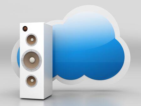 A audio cloud symbol. 3D rendered illustration. illustration
