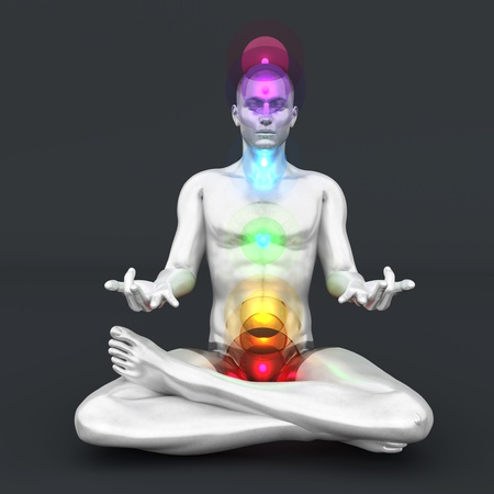 A woman performing a full chakra meditation. 3D rendered illustration.  Stock Illustration - 17322965