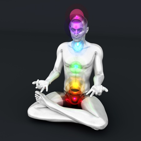muladhara: A woman performing a full chakra meditation. 3D rendered illustration.