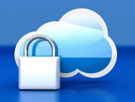 Secure cloud computing. 3D rendered illustration. illustration