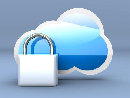 Secure cloud computing. 3D rendered illustration. Stock Illustration - 17625752