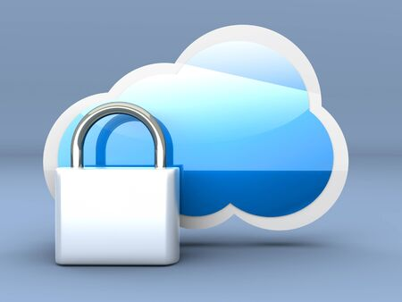 Secure cloud computing. 3D rendered illustration. Stock Illustration - 17625752