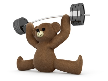 A weightlifting Teddy Bear. 3D rendered Illustration. illustration