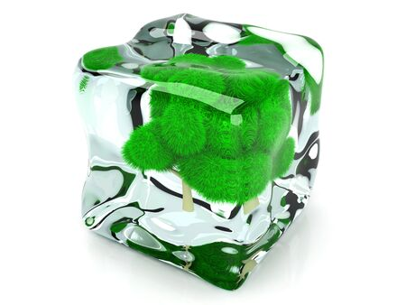 A frozen Tree in a Ice Cube. 3D rendered Illustration. Stock Illustration - 17625723