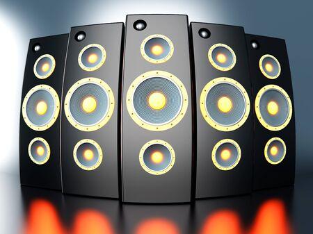 A set of powerful Loudspeakers. 3D rendered Illustration. illustration