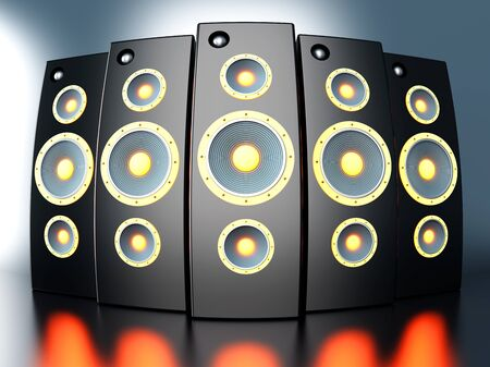 acoustic systems: A set of powerful Loudspeakers. 3D rendered Illustration.