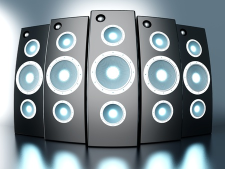 A set of powerful Loudspeakers. 3D rendered Illustration.