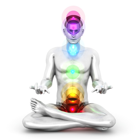 A woman performing a full chakra meditation. 3D rendered illustration.  Stock Illustration - 17625747