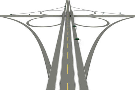 interchange: A Highway interchange. 3D rendered Illustration. Isolated on white. Stock Photo