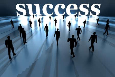 Walking towards success. 3D rendered Illustration. Stock Illustration - 17784308