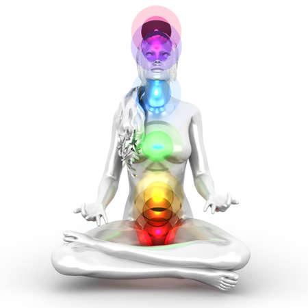 Een vrouw die een volledige chakra meditatie. 3D teruggegeven illustratie. Stockfoto