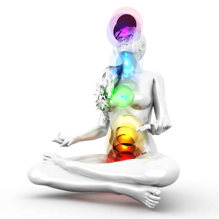 swadhisthana: A woman performing a full chakra meditation. 3D rendered illustration.