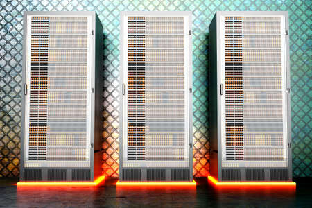 webhoster: A iron server room. 3D rendered Illustration. Stock Photo