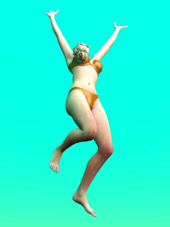 Jumping in Joy. 3D rendered Illustration.  illustration