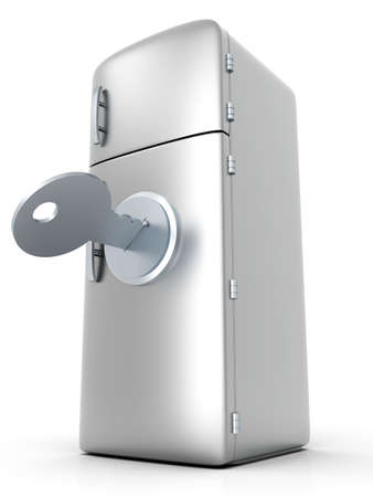A locked, classic Fridge. 3D rendered Illustration. Isolated on white.