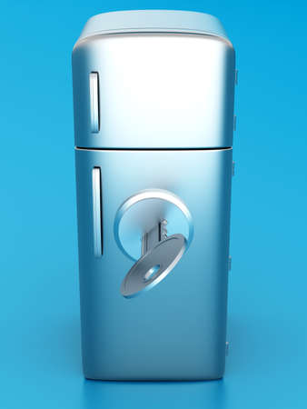 A locked, classic Fridge. 3D rendered Illustration. illustration