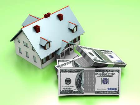 Money and Real estate. 3D rendered illustration. illustration