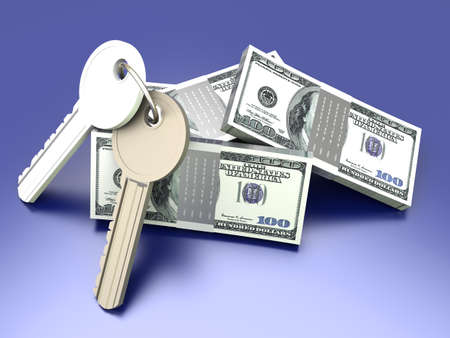 gain access: A pair of keys with Dollar notes. Symbol for Real estate investments. 3D rendered illustration. Stock Photo