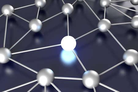 Activated network nodes. 3D rendered Illustration.