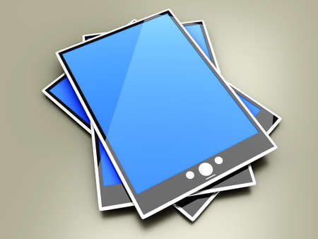 pcs: A group of Tablet PCs  Pads. 3D rendered illustration.