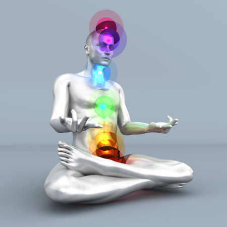 A woman performing a full chakra meditation  3D rendered illustration   Stock Illustration - 17999525
