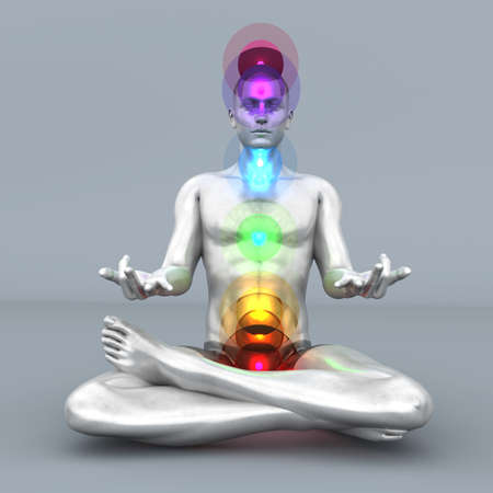 yoga to cure health: A woman performing a full chakra meditation  3D rendered illustration   Stock Photo