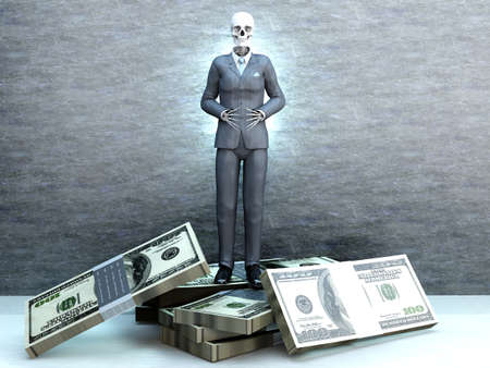 Deadly Greed   A dead business standing on money  photo