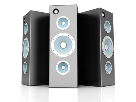 acoustic systems: A set of Loudspeakers  3D rendered Illustration