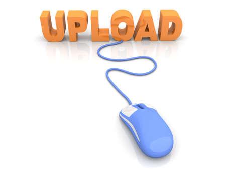 p2p: Upload data  3D rendered Illustration  Isolated on white